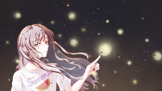 Summer starry firefly girl cure original illustration llustration image