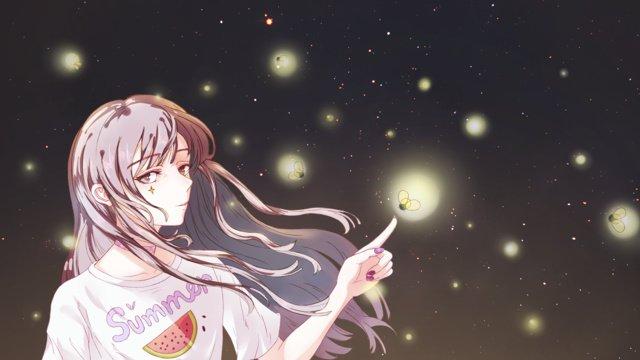 summer starry firefly girl cure original illustration llustration image