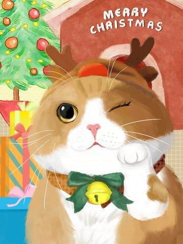 पानी के रंग का प्यारा पालतू क्रिसमस पार्टी बिल्ली चित्रण छवि