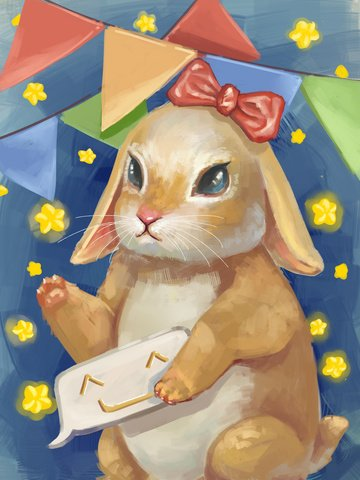 Cute pet lovely rabbit pet, Realistic, Thick Coating, Texture illustration image