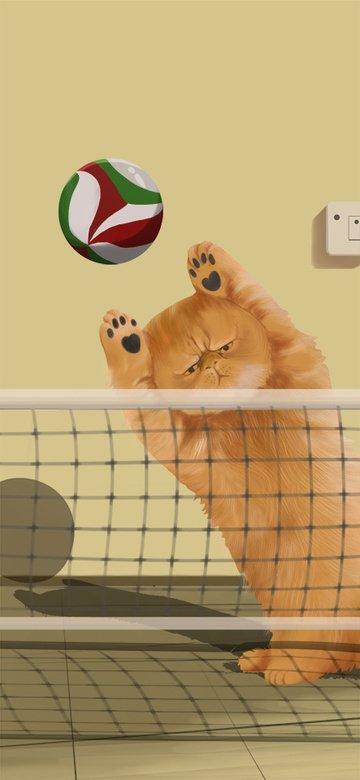 cute pet delicate and realistic big orange cat cartoon illustration llustration image
