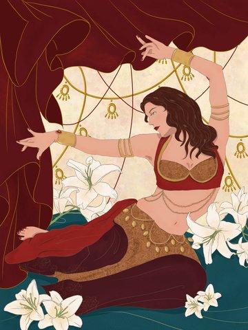 ダンスショーベリーダンスダンサーの図 イラスト素材