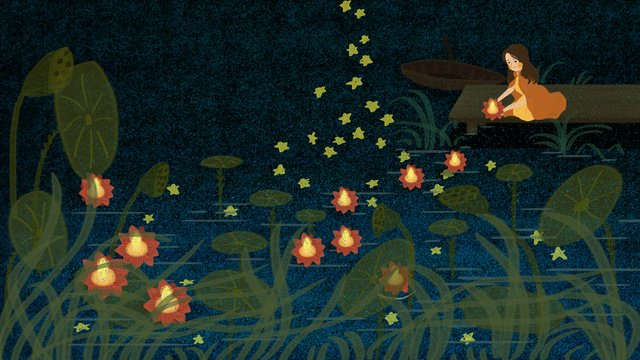 Dark green lotus pond stars put river lights little girl middle yuan festival illustration llustration image