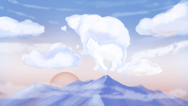 day Blue sky White clouds Clear sky, Mountain, Hawthorn, Sunset illustration image