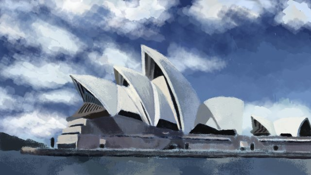 hand painted world tourism day   sydney opera house scenery architecture illustration llustration image illustration image