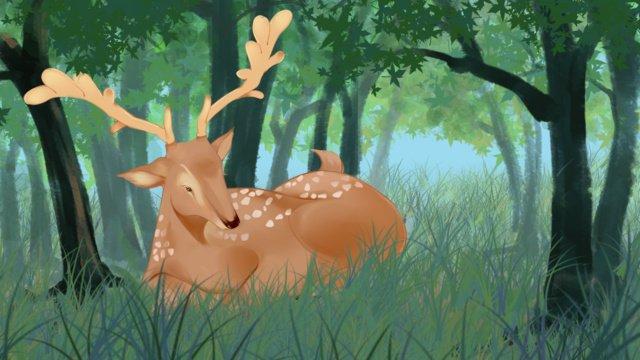 Deep forest plum deer resting in the illustrator, Deep Forest, Sika Deer, Animal illustration image