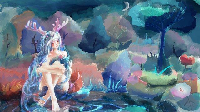 Rừng sâu với hươuRừng  Sâu  Với PNG Và PSD illustration image
