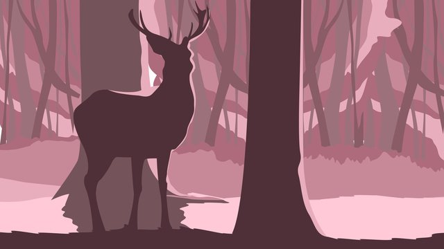 Original illustration lin shen see deer, Deer, Forest, Light illustration image