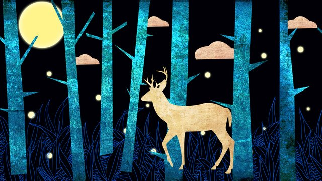 Late night deep forest see deer, Deer, Night View, Forest illustration image