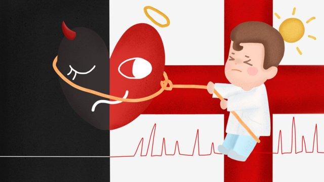 中国医師の日クリエイティブイラストドクタースーパーマンと生命の綱引き イラスト素材