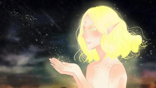 Healing dreams beautiful genie cosmic stardust and light, Dream, Elf, Beautiful illustration image