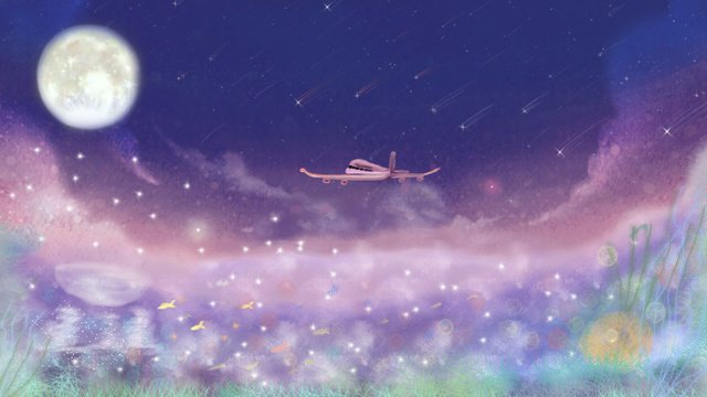 dream moonlight Starry sky popular, Small Fresh, Watercolor, Dream illustration image