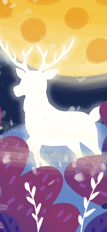 dream purple moon deer, Deep Forest, Meet, Flower illustration image