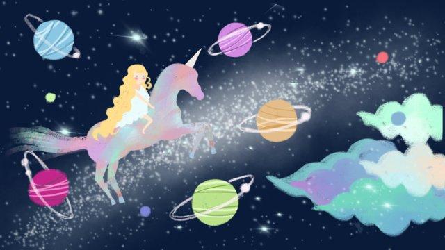 판타지 작은 신선하고 광대 한 xinghai 갤럭시 행성 치유 원래 그림 삽화 소재 삽화 이미지