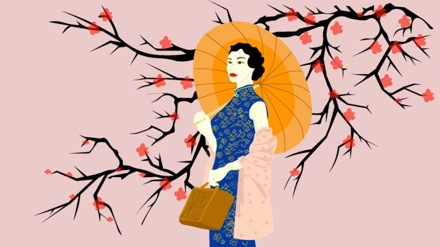 Elegant cheongsam woman illustration, Elegant, Beautiful, Woman illustration image