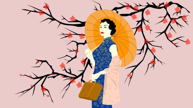 elegant cheongsam woman illustration llustration image