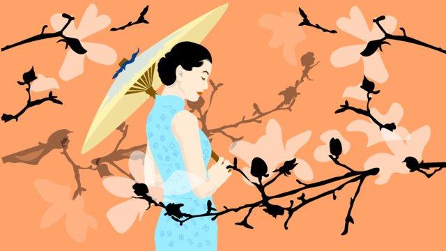 Magnolia cheongsam elegant woman illustration, Elegant, Intellectual, Woman illustration image