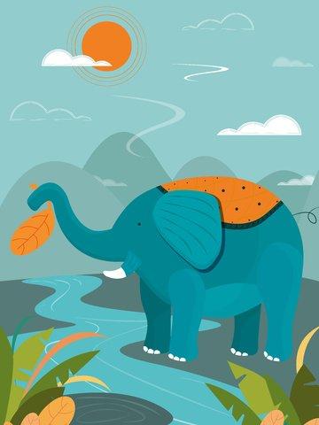 elephant nature imprint plant flowers and plants sun original vector illustration blue llustration image