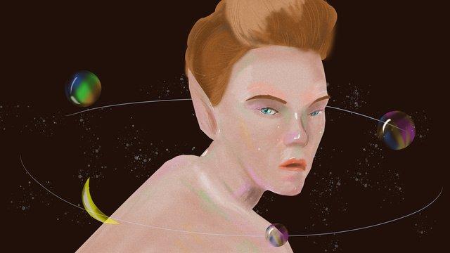 elf girl star river starry sky lonely hand painted original illustration llustration image