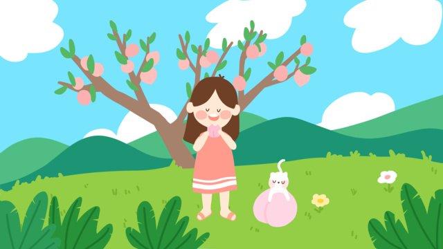 Cute cartoon illustration of a little girl eating peaches, End, Solar Terms, Peach illustration image