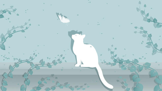cat and butterfly at the end of vines llustration image illustration image