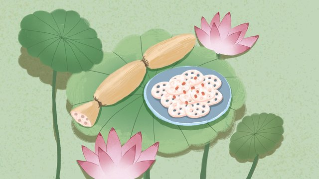 End-to-eat lotus flower leaf, End, Twenty-four Solar Terms, Traditional Solar Terms illustration image