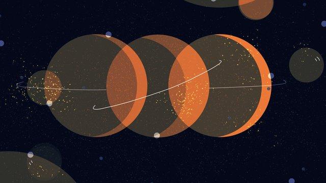 하오 xinghai 세 행성의 달 삽화 소재 삽화 이미지