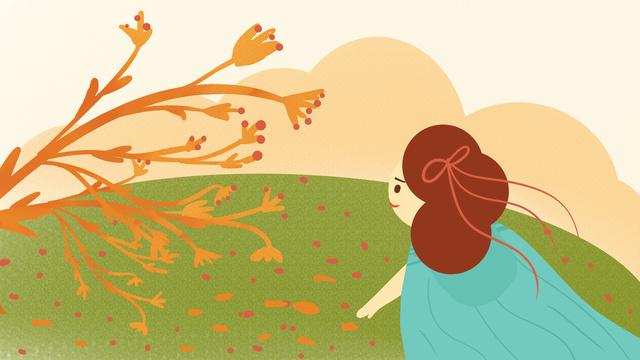 autumn hello 捡 leaf fruit girl wallpaper poster illustration llustration image