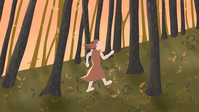 fall autumn Hello there Sunset, Dusk, Run, Girl illustration image