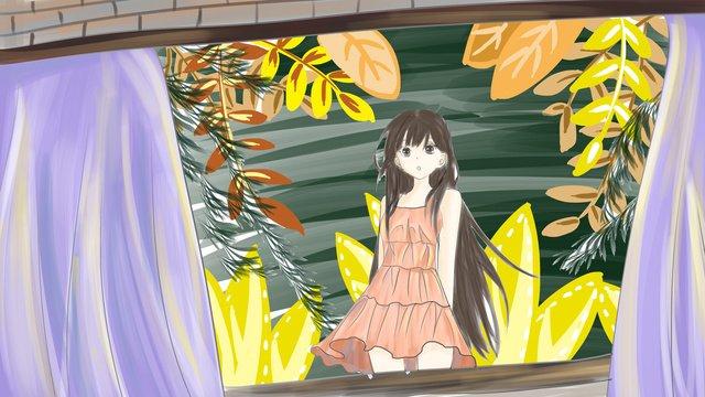 窗台的少女 插畫素材 插畫圖片