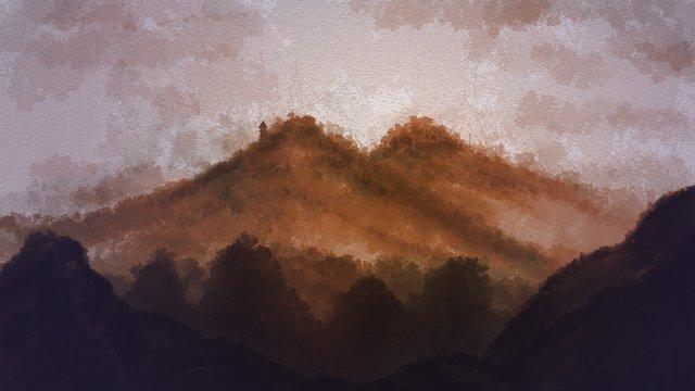 ビンテージ中国風の秋の山 イラスト素材