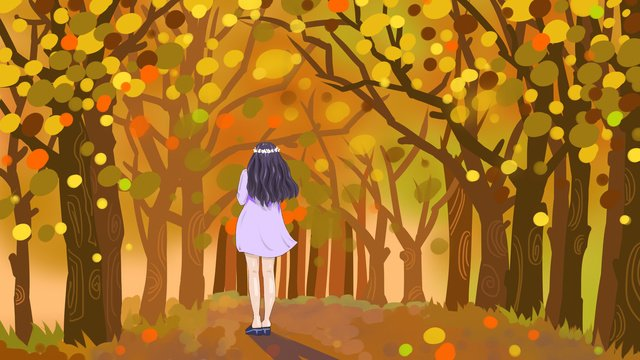 Autumn hello small fresh original illustration, Fall, Forest, Leaves illustration image