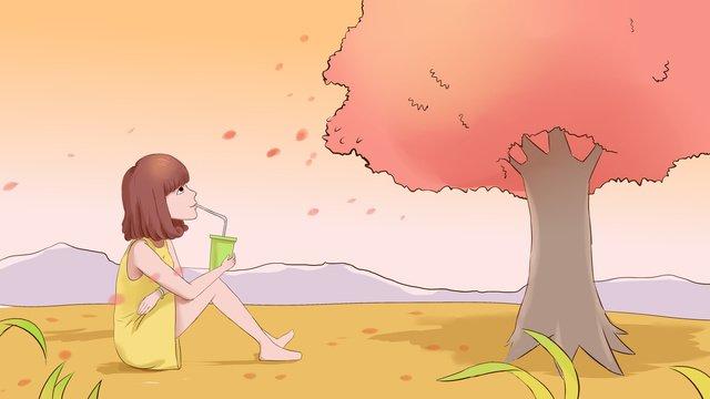 Autumn hello girl illustration, Fall, Girl, Be Quiet illustration image