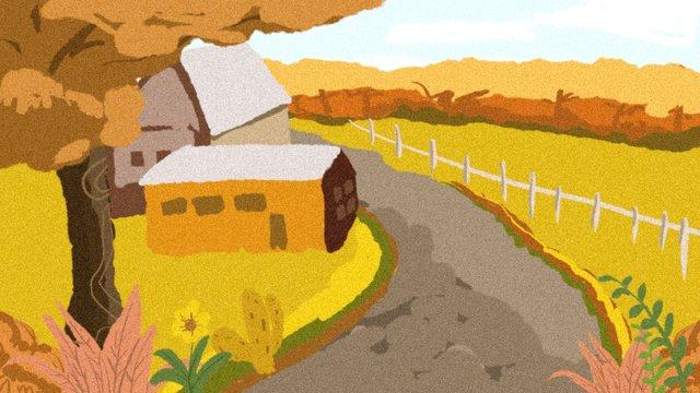 秋こんにちはカントリーファーム黄金の風景オリジナルイラスト イラスト素材 イラスト画像
