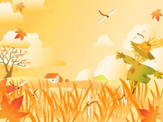 Autumn hello scarecrow illustration, Fall, Hello There, Fallen Leaves illustration image