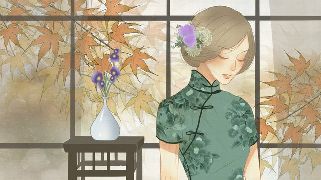 Autumn classical texture woman wearing cheongsam in front of the country window, Fall, Maple Leaf, Cheongsam illustration image