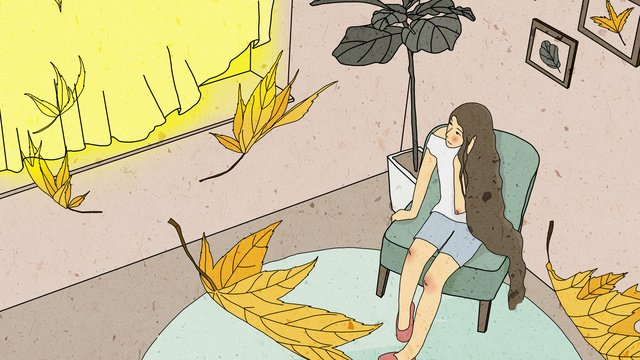 Original autumn window thinking girl healing illustration, Fall, Window, Girl illustration image