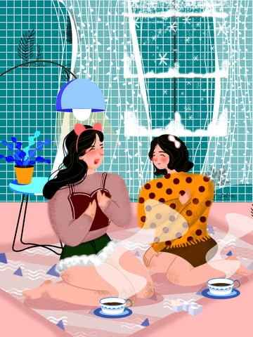 Fat house winter happy time girl illustration image