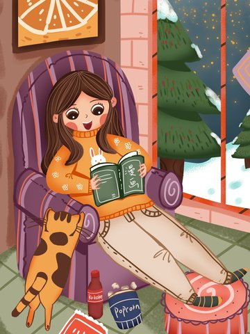 fat house winter happy time girl watching comics at home illustration image