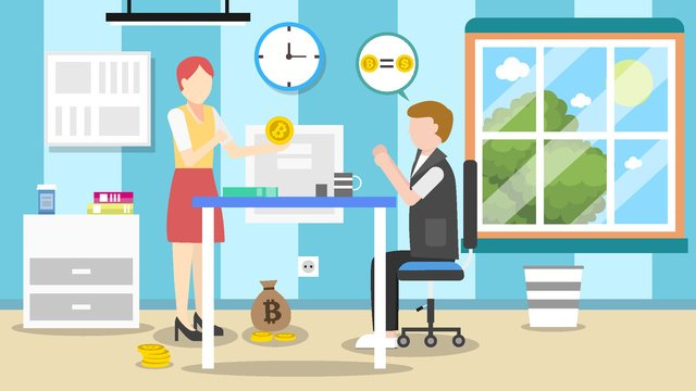 financial bitcoin 만 여성이 비트 코를 판매합니다 삽화 소재 삽화 이미지