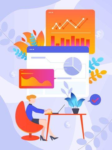 Финансовый менеджмент плоский векторные иллюстрации Иллюстрация изображения