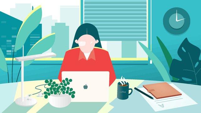 original illustration flat wind workplace character work female office worker llustration image illustration image