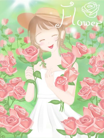 Cartoon illustration of girl holding flowers in the sea, Flower, Girl, Bouquet illustration image