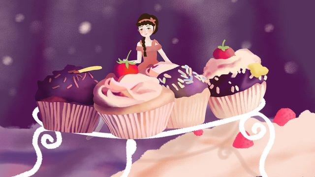 original illustration gourmet cake dessert with girl llustration image illustration image