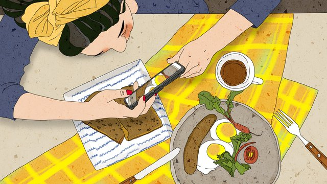 Original shot of beautiful girl healing illustration, Food, Pretty, Girl illustration image