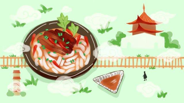 グルメの町シルエット 西安オイルかけ麺オリジナル手描きイラスト イラスト素材