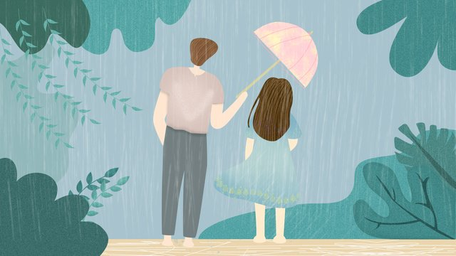 紺碧や他の雨と傘の雨、カップルの愛 イラスト素材