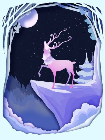 Forest and deer beautiful paper-cut wind illustration night looking up at the stars, Forest And Deer, Beautiful, Paper-cut Wind illustration image