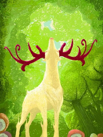 forest and deer coil healing system cartoon illustration looking up llustration image