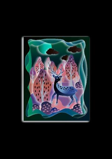rừng và hươu cắt giấy ấm áp minh họa sơn trang trí động vật stereo Hình minh họa